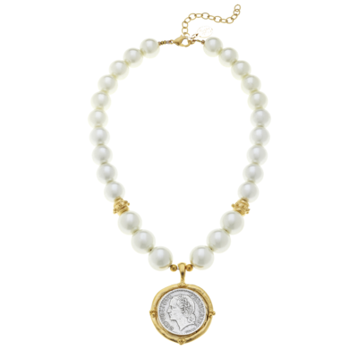 Gold and Silver Coin on Glass Pearl Necklace