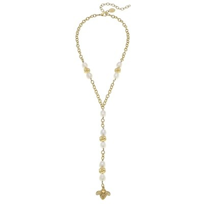 Gold Bee and Genuine Freshwater Pearl Y Necklace
