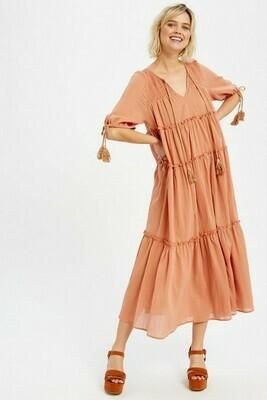 Pumkin Keyhole Tiered Maxi dress