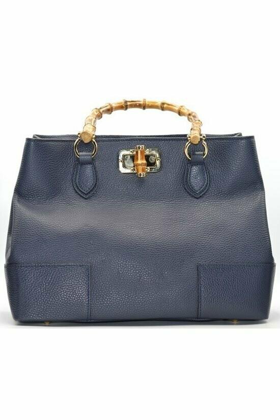 Bamboo Handle Leather Handbag