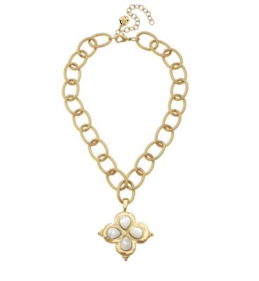 Gold Clover with White Quartz Necklace