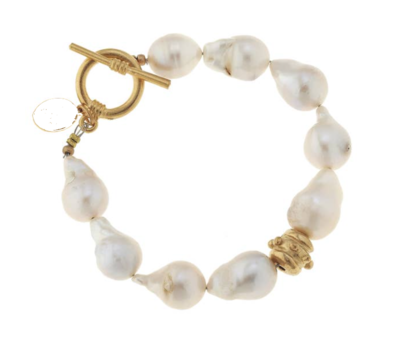 Large Baroque Genuine Freshwater Pearl Toggle Bracelet