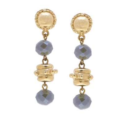 Gold Bead and Labradorite Crystal Earrings