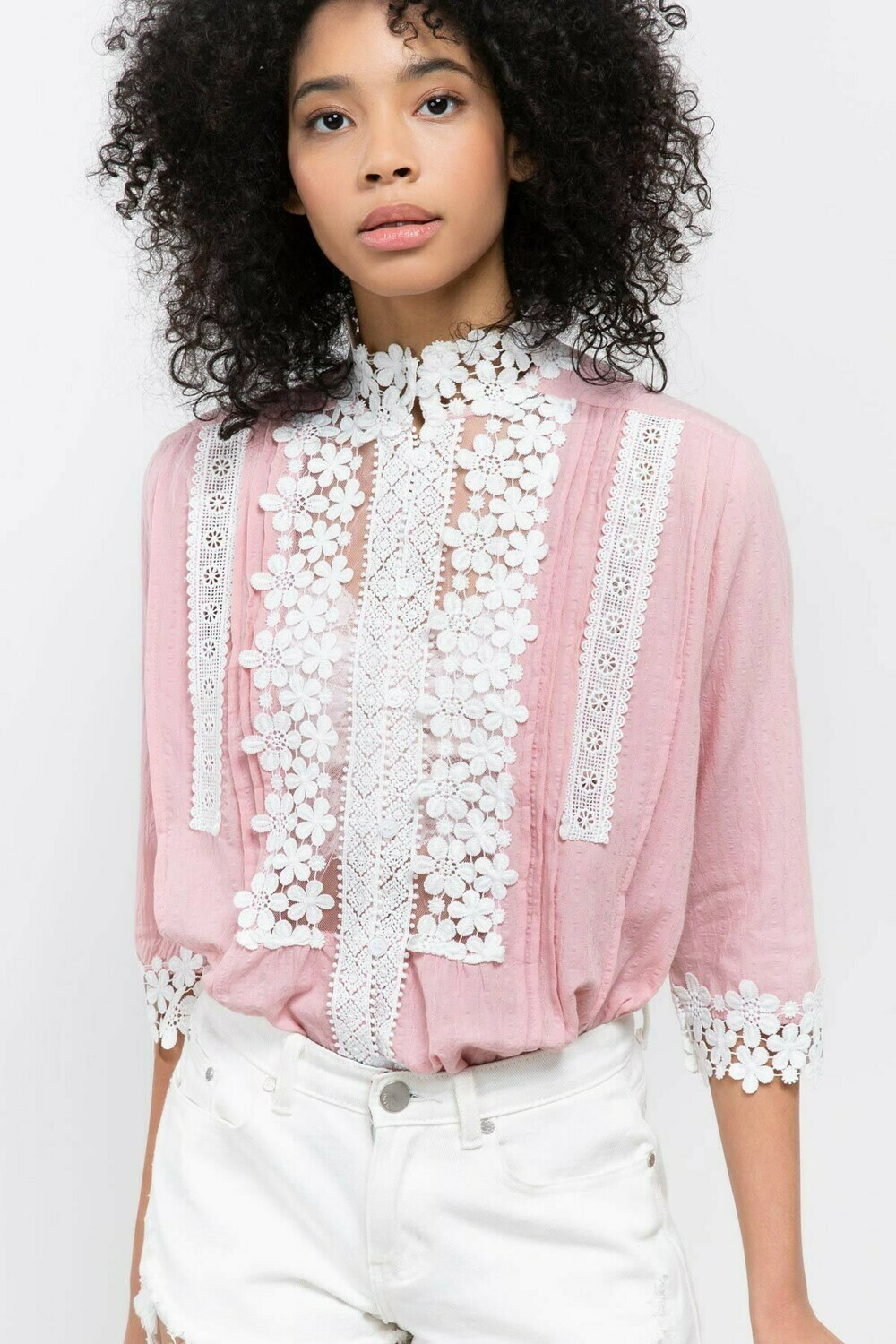 Eyelet Trim Pink & White Top