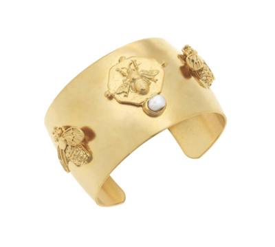 Gold Bee Cuff with Handset Genuine Freshwater Pearl