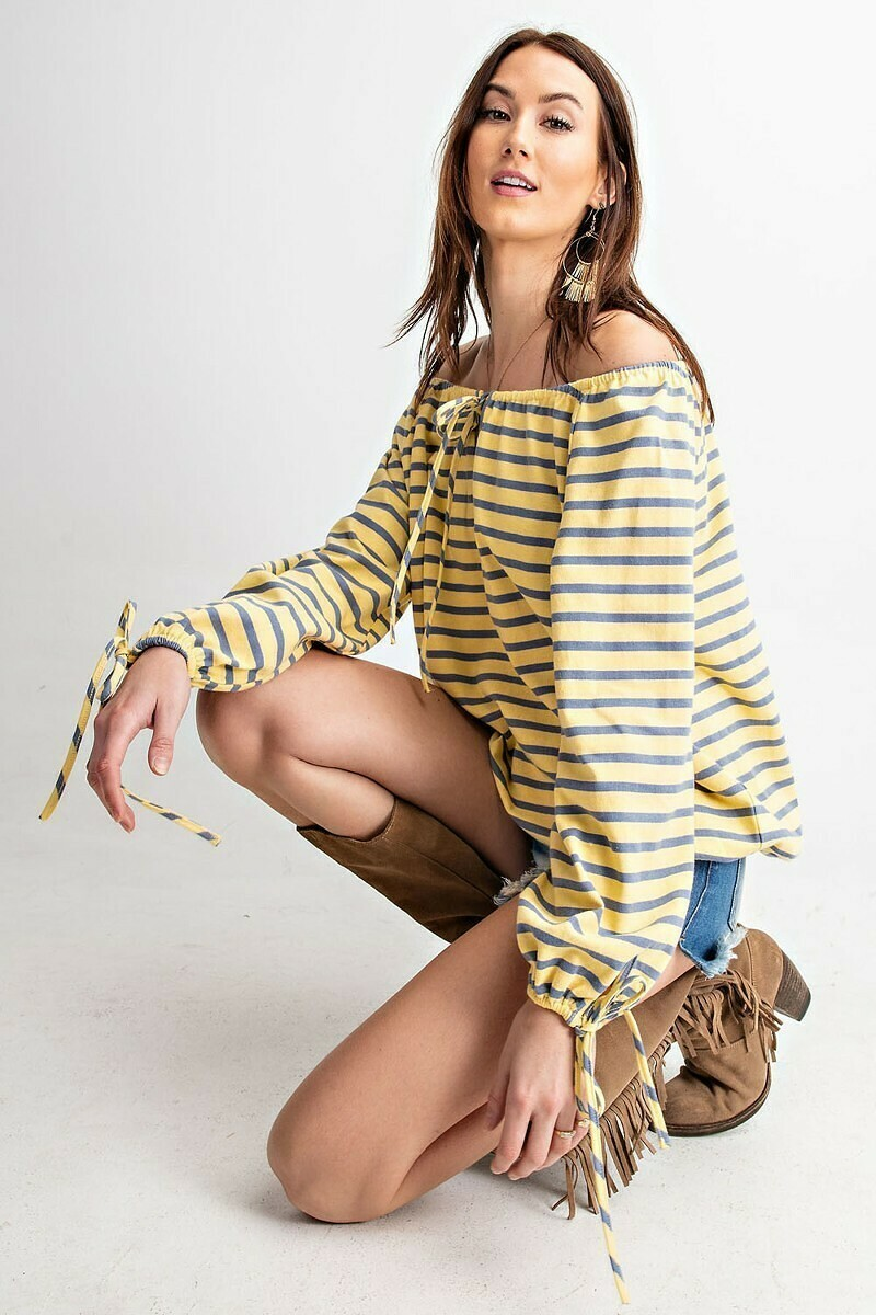 **Striped Canary Loosefit Top