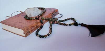 Unakite and Garnet Mala