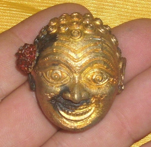 Jao Ngo Pha deity Mask  for immense riches, luck and preferential treatment - Luang Phu Daeng - Wat Huay Chalong (Uttaradit)
