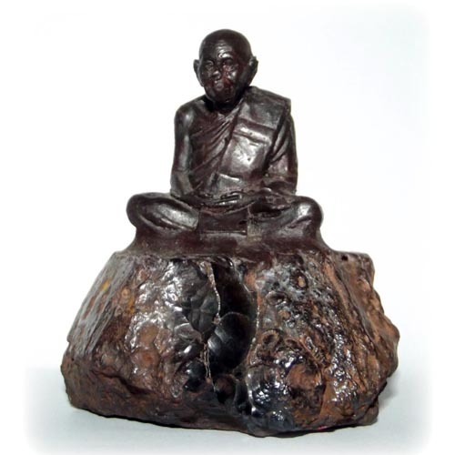 Adamantine Bucha Statue of the Great Master Por Tan Klai on a piece of Lek Lai - 2.5 x 3 Inches - Blessed by LP Khai & the Khao Or Masters