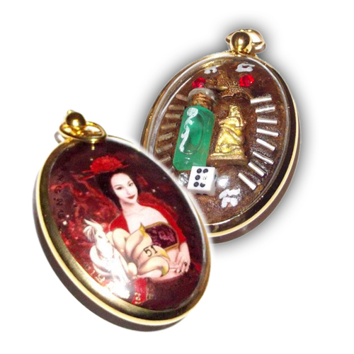 Mae Nang Jing Jork Gao Hang (Nine Tails Fox) Jumbo Size Gambling & Seduction Locket in Gold Plated Casing - Kroo Ba Kampeng