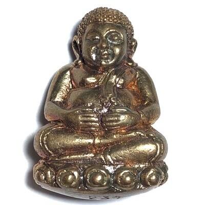 Pra Sangkajjai Wealthy Buddha - Nuea Sadtangk Daeng  - Run Gathin Jao Sua 2554 BE - Por Tan Prohm - Wat Palanupap 2 x 2.7 Cm - Free Casing + Shipping Included #351