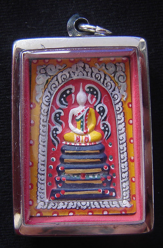 Pra Somdej Paint See Nuea Pong Puttakun Fang Takrut Ngern 19 Dork 'Koon Jaroen Sap' edition with 5 Gold Takrut and monks hair - Luang Por Koon 2537 BE - casing included
