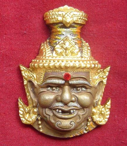 Phu Ruesi Ta Fai Kroo Deity mask - Nuea Samrit (Bronze) with sacred powders, (Nam Rerk) 3 Takrut and Tiger Yant - Luang Phu Naen Kampiro
