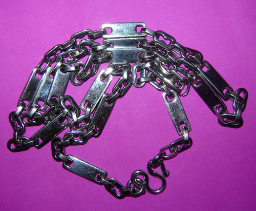 Stainless Steel Neck Chain for Amulets - interspersed oval and square shape flat link - for 1 single amulet 28 Inches long