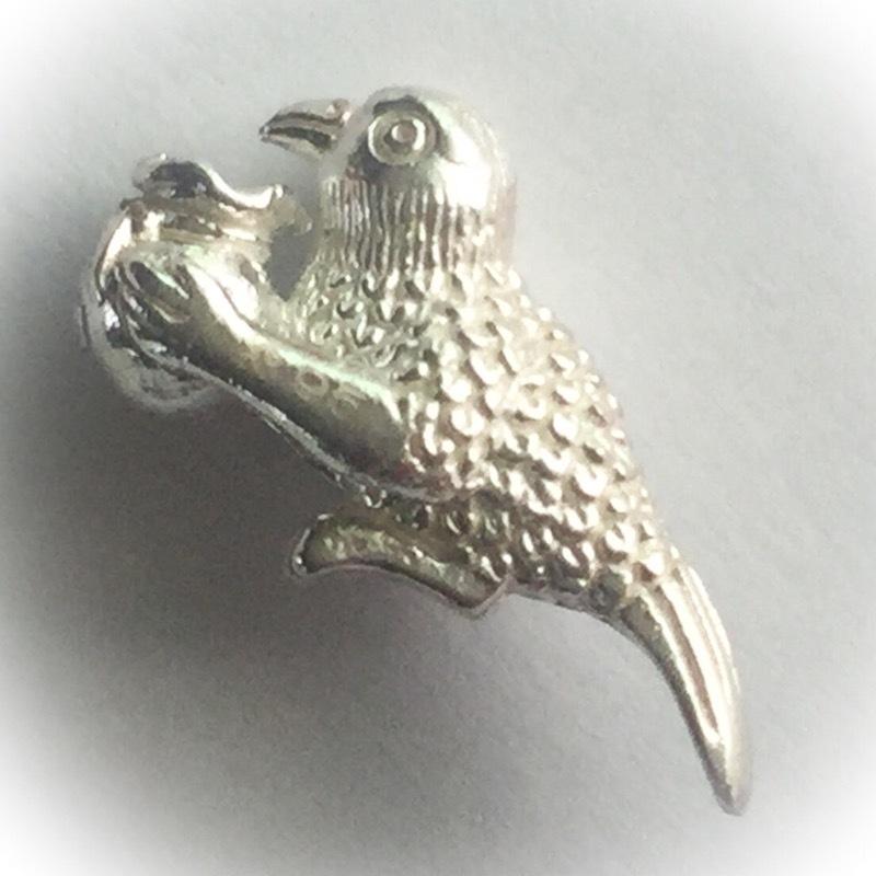 Sariga Pak Pra Ruang Dtua Kroo - Solid Silver Celestial Magpie with Thung Maha Pokasap Treasure Sack - Kroo Ba Kam Bpeng