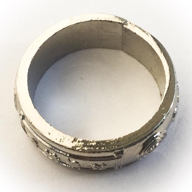 Hwaen Maha Ud Magic Ring for Invincibility + Protection 2524 BE - Nuea Albaca 1.8 Cm Inner Diameter - Ajarn Chum Chai Kiree - Dtamnak Dtak Sila Khao Or
