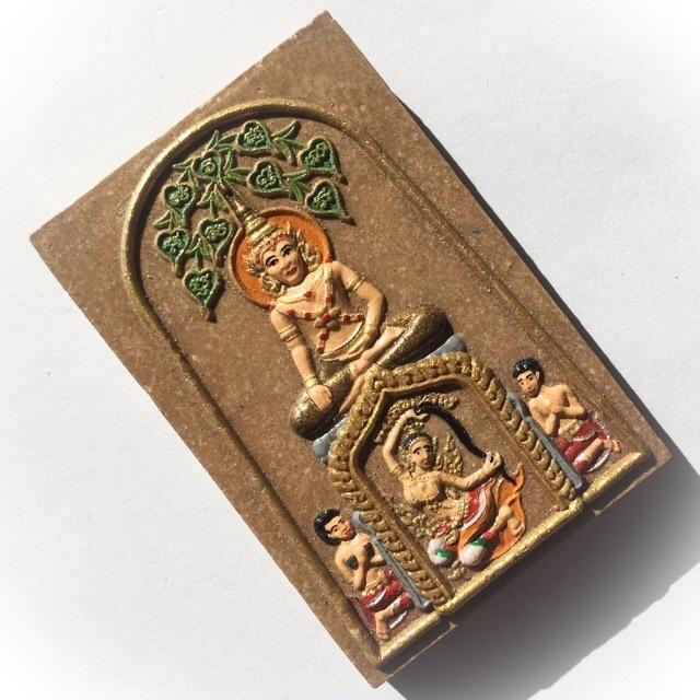 Pra Somdej Prok Po Chana Marn Hand Painted Jumbo Ongk Kroo Amulet with Dharani Earth Goddess - Pure Ittijae and Wan Powders - Ajarn Meng Khun Phaen