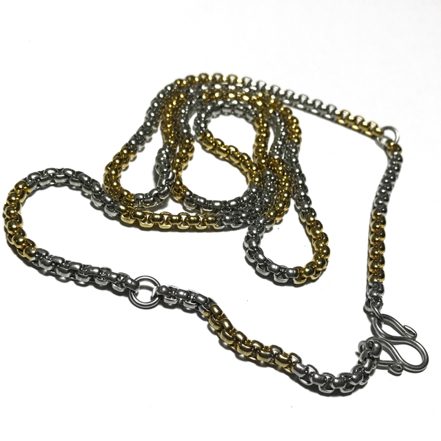 Two Tone Gold + Chrome Plated Stainless Steel Neck Chain for 3 Amulets - Medium Gauge Cubic Chain Links 25 Inches