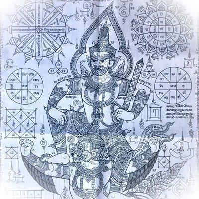 Pha Yant Pra Rahu Song Krut 12 x 16 Inches Yantra Cloth with Eclipse God + Garuda - Pra Maha Wirawongs - Wat Sampantawongs