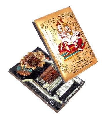 Jumbo Locket Taep Paetch Payatorn (Gold) Nia Kajia 2556 BE - 2 Pearls, 1 Look Namo, 7 Takrut (4 silver, 3 python), and Rak Sorn flower - Free Casing - Luang Phu In