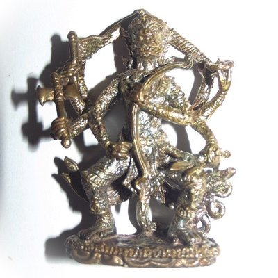 Hanuman Nam Tap Plaeng Rit Paed Gorn - 8 armed Hanuman Leading the Battle - Khum Sap Edition - Nava Loha Nilapat 9 Sacred Alchemical Metals - Luang Phu Ka Long  2552 BE