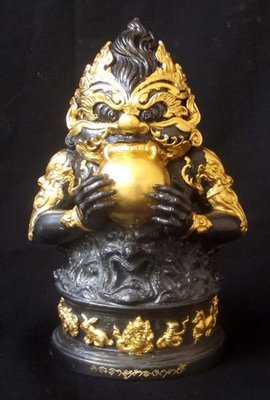 Pra Rahu Om Jant (Eclipse God Swallowing the Moon) Bucha Statue 4 Inches Wide x 8 Inches High Bronze with Gold leaf -  'Sadta Mongkol' (Seven Blessings) edition - Por Tan Kloi - Wat Phu Khao Tong