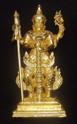 Roop Lor Taw Waes Suwan Tri Plab Pela (Three Legged Asura King of Wealth) - 4.6 Inch High Bucha Statue - Sacred Bronze 24 K Gold Leaf Coating - Wat Na Pra Meru Blessed by Pra Ajarn Ord & 96 Guru Monks