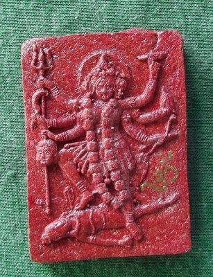 Jao Mae Kali (Wrathful Kali Goddess) - Nuea Pong Daeng Maha Sanaeh Fang Takrut Ngern Jarn Mer (red sacred powders with silver Takrut and hand inscription) - Ajarn Taep Pongsawadarn