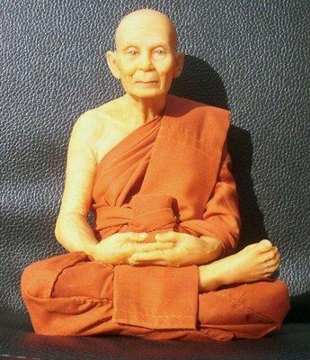 Luang Por Tan Klai (Wajasit) Bucha statue realistic wax figurine - 7.5 inch high