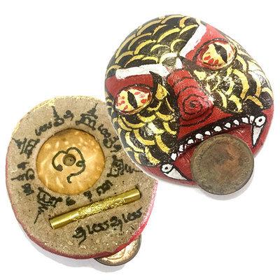 Phii Pa Nan Gambling Ghost Painted Mask with Gambler Corpse Coin in Mouth Prai Powders Takrut Sethee - Ajarn Nu Burapa