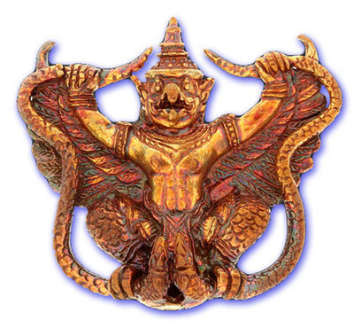 Paya Krut (Garuda with Nagas) - Nuea Nava Loha (9 Sacred Metals) 3rd edition - Thai Amulet for Increasing Status and Wealth - Luang Por Phad - Wat Rai 2554 BE