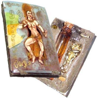Mae Gamon Tip Lady of the Lilies Lakshmi Deity Love & Mercy Charm Locket - Ploi Sek, Takrut, Chanuan Aathan, Magic Seeds + Nam Man Prai - Ajahn Jiam Rit Kong