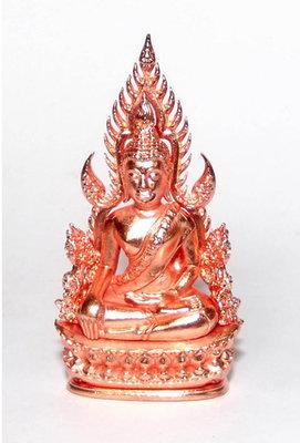 Pra Putta Chinarat (Loi Ongk Statuette) 'Jom Rachan' (Warrior King) edition 2555 BE - Nuea Loha Chup Pink Gold - Wat Pra Sri Radtana Maha Tat (Pitsanuloke)
