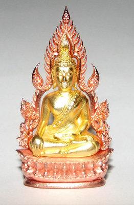 Pra Putta Chinarat (Loi Ongk Statuette) 'Jom Rachan' (Warrior King) edition 2555 BE - Nuea Loha Chup Pink Gold Ongk Chup Tong (Pink Gold + Gold Plated Buddha) - Wat Pra Sri Radtana Maha Tat