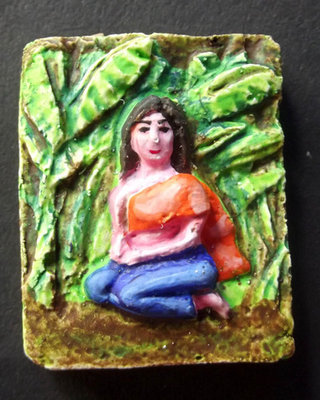 Nang Prai Dtanii Jao Sanaeh Chae Nam Man Prai Fang Takrut Bpaag Phii Roi Choo (Banana Tree Prai Lady Ghost Hand Painted 4 silver Takrut) - Ajarn Por Yai Porn (Khmer Master)