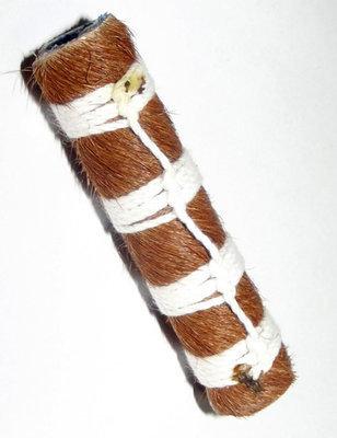 Takrut Ma Glom Nang (Ma Saep Nang) 'Dork Kroo' See Bo - 'Sang Hor Chan' edition 2555 BE - Horse Skin wrapped Leaden Yantra with 4 Cord Spell Knots for Enchantment - Kroo Ba Lerd  Wat Tung Man Dtai