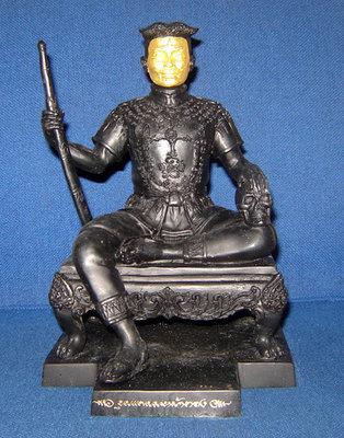 Bucha Statue Khun Phaen Na Hnaa Tong (gold faced Khun Phaen) - Nuea Samrit Rom Dam (black bronze) Hnaa Tong (gold faced) - Kroo Ba Subin Sumetaso - 5 inch base 9.8 inches high