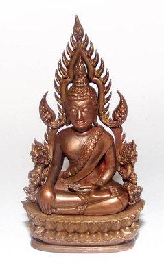 Pra Putta Chinarat (Loi Ongk Statuette) 'Jom Rachan' (Warrior King) edition 2555 BE - Nuea Bronze Nork (Sacred Bronze + Yantra Foils) - Wat Pra Sri Radtana Maha Tat (Pitsanuloke)