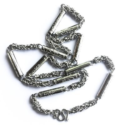 Stainless Steel Neck Chain for Amulets  30 Inches - Thick Gauge with Sacred Yant (Unalome) - For 1-5 Amulets at 25 inches