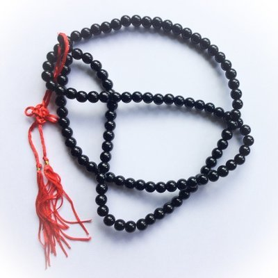 Prakam Suad Montr (Medium Size Beads) - Buddhist Prayer Bead Mala Rosary for Chanting Mantras and Meditation - Black Hematite + Hin Sai - 108 Beads