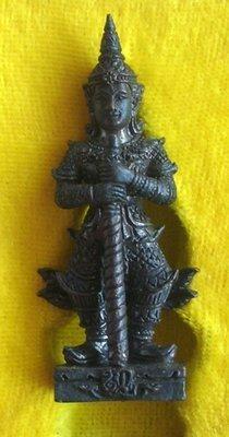 Taw Waes Suwan Saweuy Sukh Hnaa Taewada  Jao Khum Sap (Deity of Riches and Treasure) - with sacred powders in base - Nuea Loha Athan - Pra Atigarn Jai - Wat Sri Tosatep