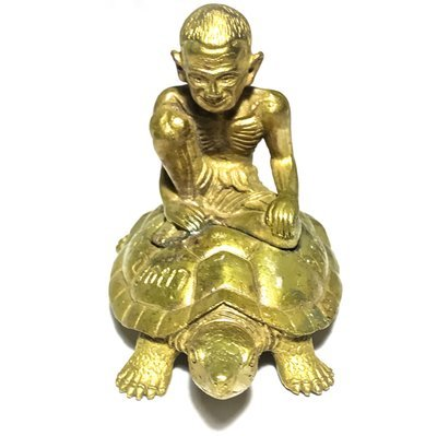 Por Gae Nang Tao Ruean Maha Lap 2556 BE Lersi Riding Turtle Bucha Statue - Nuea Tong Daeng Galai Tong - Pra Kroo Pern Wat Lard Chado