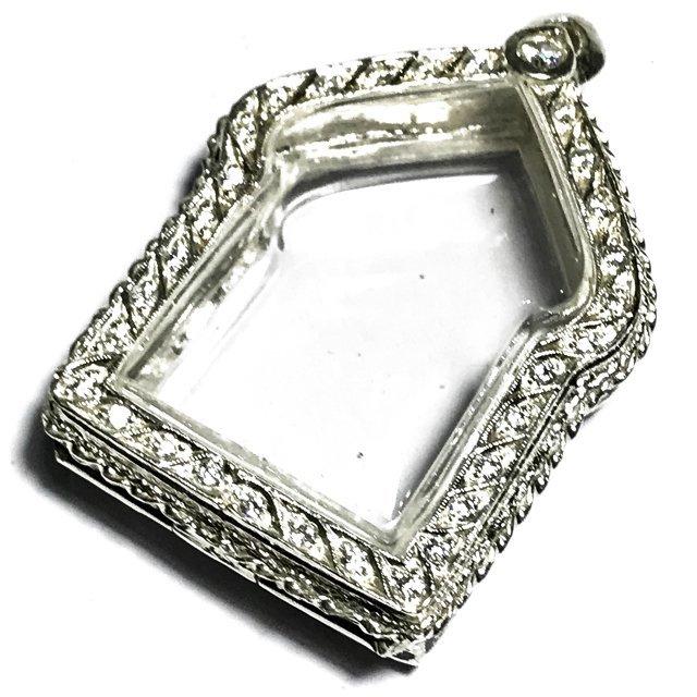 Solid Silver Frame Case for Pra Khun Phaen Amulets 3 x 4 Cm with Rhinestones + Rachawadee Coloured Glaze