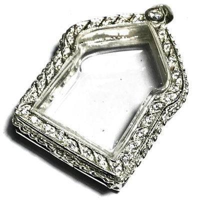 Solid Silver Frame Case for Pra Khun Phaen Amulets 3 x 4 Cm with Rhinestones + Rachawadee Coloured Glaze