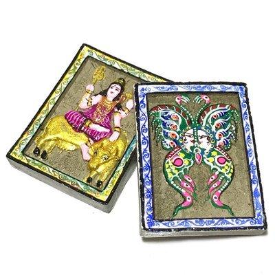 Pra Isworn Maha Taep Jamlaeng 2 Sided Amulet 2549 BE Blue King Butterfly Purple Robed Shiva - Kroo Ba Krissana