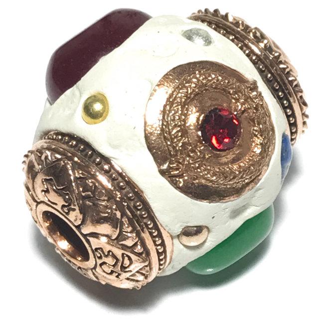 Takrut Look Om Paya Nak Suriya Kaya Siddhi Amulet for Power, Promotion and Wealth Precious Gems Lek Lai Beads - Pra Ajarn Som