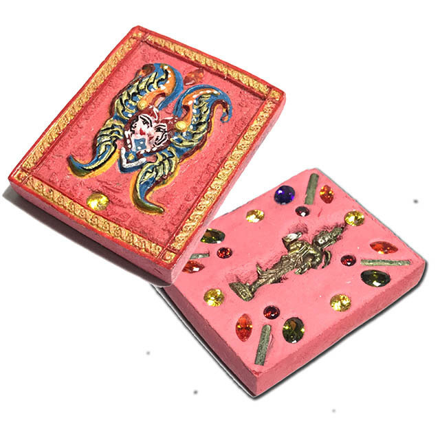 Taep Jamlaeng Roman Pim Klang A2 Asrom Sathan 2556 BE Pink Powders 4 Takrut 18 Gems Trimurti God - Kroo Ba Krissana Only 56 Made