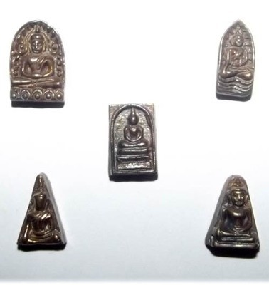 5 Amulet Benjapakee Gammagarn Miniature Collector Set - Sethee Nang Paya 2556 BE Edition - Wat Nang Paya - free with casings for orders over 750$