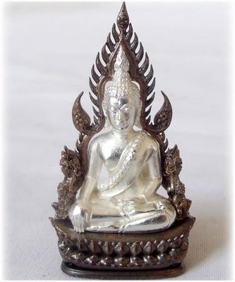 Pra Putta Chinarat (Loi Ongk Statuette) 'Jom Rachan' (Warrior King) edition 2555 BE - Nuea Ngern Sum Nava (Silver Buddha & Nava Loha Arch) - Wat Pra Sri Radtana Maha Tat