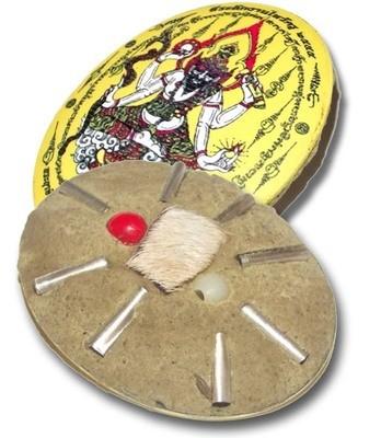 Pra Lersi Ta Fai Locket (yellow face) Pim Jumbo Ongk Kroo (Giant Size Masterpiece Version) - Sacred Powder Filling 2 Takrut + Galam Daeng Bead - Wai Kroo 2555 BE Edition - Ajarn San Kong Waet